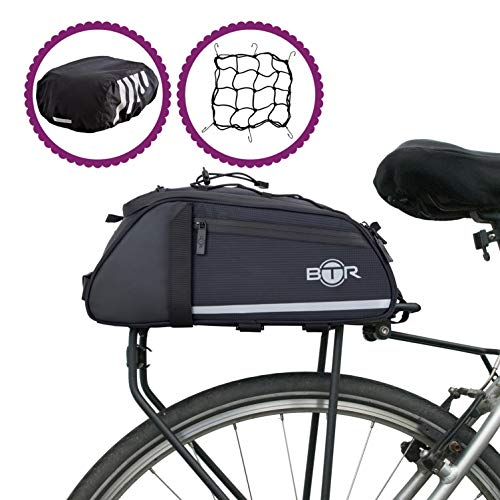 BTR Wasserabweisende 9 Liter Gepäckträgertaschen, Fahrradtasche Gepäckträger Tasche. Fahrradtasche mit Bezug und Netz. Recycelbare Verpackung. Schwarz