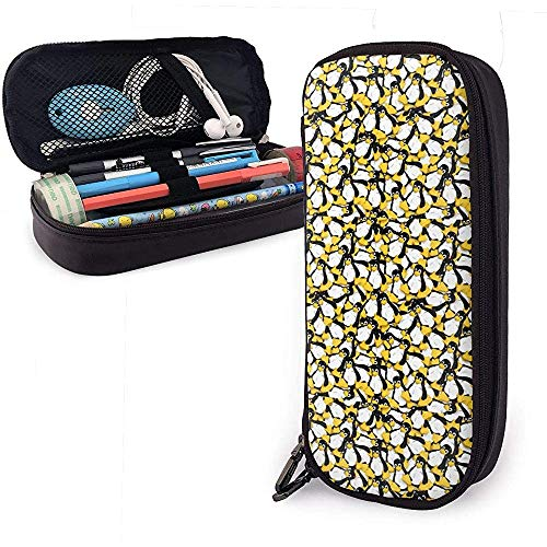 Die Linux Pinguin Leder Federmäppchen Reise tragbare Kosmetiktasche für Studenten Jungen Mädchen Erwachsene