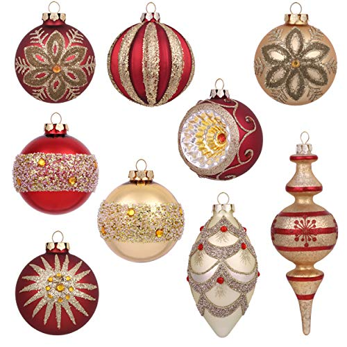 Valery Madelyn 10ct Luxury Glass Christmas Ball Ornaments Red and Gold,Themed with Tree Skirt(Not Included)