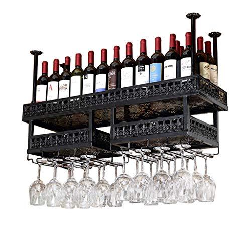 YUJIE Luxe Wijnrek Metaal IJzer Wijn Opslag Rack Plafond Wandmontage Wijnrek Hoge Paal Rack Wijnfles Rack Zwart