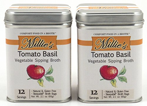 Millie's All Natural Organic Gluten-Free Vegetable Sipping Broth 12 Tea Bags each Tomato Basil (2-Pack)
