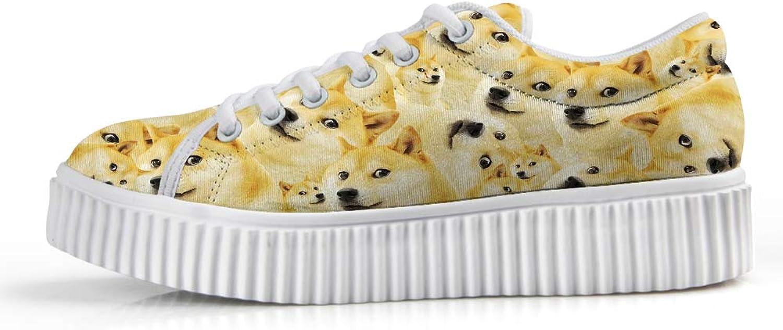 Owaheson Platform Lace up Sneaker Casual Chunky Walking shoes Low Top Women Doge Meme Crazy Shiba Inu