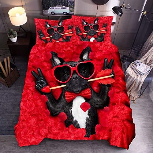 BH-JJSMGS 3D-Tier Katze, Hund, Wolf, 3D-bedruckter Bettbezug und Kissenbezug, Rose Dog 140 * 210