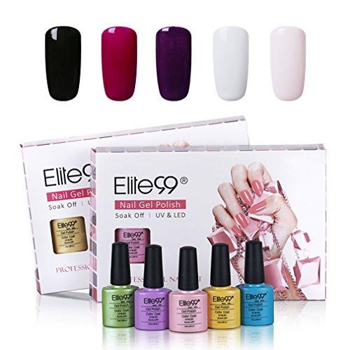 UV Nagellack set von Elite99 soak off nagelgel farben auflösbarer peel off nagellack uv nagellack starterset 5x 7.3ML