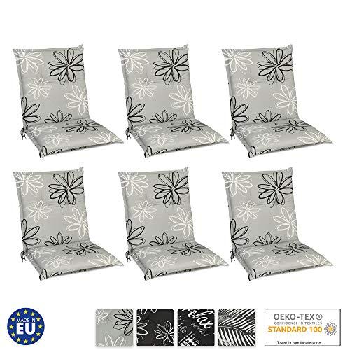Beautissu Set de 6 Cojines para sillas de Exterior y jardín con Respaldo bajo Floral 100x50x6 cm tumbonas, mecedoras, Asientos cómodo Acolchado Resistente a Rayos UV