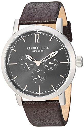 Kenneth Cole New York Reloj casual de cuarzo analógico plateado con correa de cuero y pulsera de acero inoxidable para hombre (modelo: KC50395001/02), Tono plateado (modelo: KC50395002).