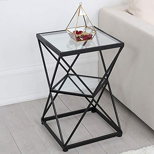Side Table 2 Tier Tempered Glass End Table with Golden Metal Frame, Decorative Bedside Table, Living Room Balcony Small Coffee Table