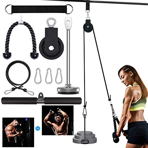U/R Fitness LAT and Lift Pulley System with 2 Handles,Muscle Strength Training Machine for Triceps Pull Down, Biceps Curl, Back, Forearm, Shoulder-Multi Purpose Exercise Equipment for Home Workouts