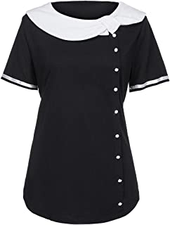 DADKA Fashion Shirt for Women Simple Short Sleeve Plus Size Two Tone Peter Pan Collar Button T-shirt Tops