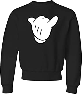 Youth Hang Loose Cartoon Hand Mickey Shaka Sign Crewneck Sweatshirt