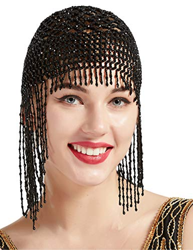 BABEYOND 1920s Beaded Cap Headpiece Roaring 20s Beaded Flapper Headpiece Belly Dance Cap Exotic Cleopatra Headpiece for Gatsby Themed Party (Black)