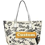 ZZMGDAM Nombre Personalizado Todos los días Big Bag Bolsa de Asas Grandes Cotidiana Boho Cotton Bolso de Hombro (Color : White, Size : One Size)