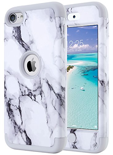 ULAK iPod Touch 7 Case Marble, iPod Touch 6 Case, Heavy Duty High Impact Hard PC Back Cover with Shockproof Soft Silicone Interior for Apple iPod Touch 5th/6th/7th Generation, Grey Marble