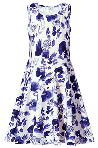 BFUSTYLE Best Dresses for School, Active Primary School Girls Swing Sleeveless Fatty Summer Dress for Vacation Holiday Trip (XL,Blue White Flower)