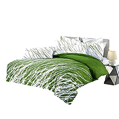 Swanson Beddings Tree Branches 3-Piece 100% Cotton Bedding Set: Duvet Cover Two Pillow Shams (Green White, King)