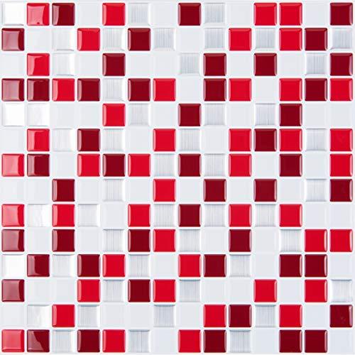 STICKGOO Peel and Stick 3D Azulejo de pared, 30 x 30 cm autoadhesivo en azulejos para cocina y baño (10 hojas, rojo)