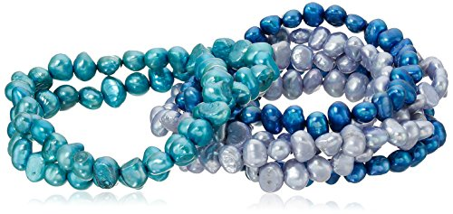 Dyed Shades of Blue Freshwater Cultured Pearl 7 Piece Stretch Bracelet Jewelry Set
