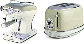 Ariete 1389 Expresso Vintage Beige & Vintage 155 Grille-Pain design 2 Tranches avec Pince, 6 Niveaux de Grillage, 810 W, P...