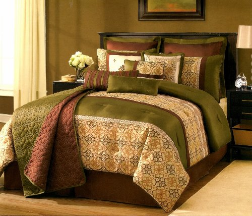 Sunham Kismet Gold Green & Burgundy Quilted Textured 12 Piece FULL