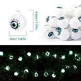 Halloween Grüne Augapfel-Lichterkette mit Fernbedienung, 30 LEDs Batteriebetrieben Wasserdicht Augapfel-Lichter mit 8 Beleuchtungsmodi für Halloween Party Indoor Outdoor Garten Yard Dekorationen - 4