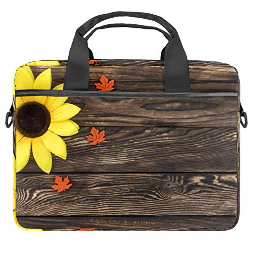 Laptop Bag Beautiful Sunflower On Brown Wooden Texture Notebook Sleeve with Handle 13.4-14.5 inches Carrying Shoulder Bag Briefcase
