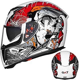 XuBa Men Motorcycle Helmet Four Seasons Double Lens Anti-Fog Full Helmet White red XXL