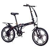 Vélo de Route à Double Disque de Frein, vélo Pliant Portable pour Adultes, Cadre en Acier à Haute teneur en Carbone, Absorption des Chocs, siège réglable, pour Hommes, Femmes