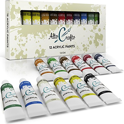 Acrylic Paint Set - Artist Quality Acrylic Paints for Painting Canvas, Wood, Clay, Fabric, Nail Art, Ceramic & Crafts - 12 x 12ml Vibrant Colors - Professional Art Supplies by Alto Crafto