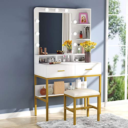 Tribesigns Vanity Table Set with Lighted Mirror & Stool, Makeup Vanity Dressing Table with 9 Lights, 2 Drawers and Storage Shelves for Bedroom, Gold Vanity Desk for Women Girls (White)
