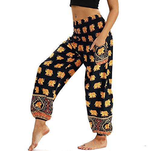 Nuofengkudu Damen Hippie Harems Hose Pumphose Haremshose Aladdinhosen Boho Gemustert Gesmockte Taille mit Taschen Yogahose Freizeithose Sommerhose Strandhose Gelb Elefant