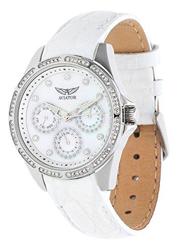 Aviator AVW2214L28 - Orologio da donna con cinturino in pelle bianco