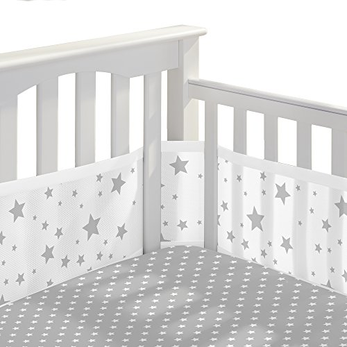 Product Image of the BreathableBaby 3pc Classic Crib Bedding Set – Star Light White and Gray