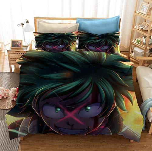 Hero Academia 3D Comics Juego de ropa de cama con funda nórdica para niños para niños, jóvenes, suave, cómodo, transpirable, funda nórdica, cama individual, juego de cama doble-F_140x210cm (2pcs)