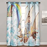 Cortinas para dormitorio, niños, arca de Noé en las nubes, cortinas de granja para sala de estar (2 paneles de ancho 52 x largo 84 pulgadas)