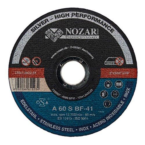 TRENNSCHEIBE INOX PROFI LINE VON NOZAR | BEARBEITUNG VON ROSTFREIEM STAHL | EISEN- & SULFATFREI | 125x1,2x22,23 mm
