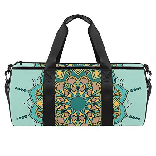 Bolsas de lona para viajes, deportes, gimnasio, mandala, bohemio, verde, floral, bolsa de fin de semana, mochila para mujeres y hombre