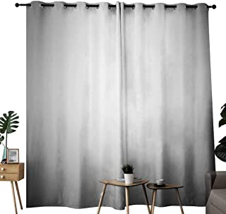 Mannwarehouse Grey Decor Collection Bedroom Windproof Curtain Faded Digital Print Dark Blur Grungy Style Plain Mat Metallic Modern Urban Life Trendy Home Decor Noise Reducing W72 x L96 Gray