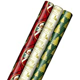 Hallmark Foil Christmas Wrapping Paper with Cut Lines on Reverse (3 Rolls: 60 sq. ft. ttl) Classic Santa Claus, Gold 'Merry Christmas,' Green Plaid with Gold Trees
