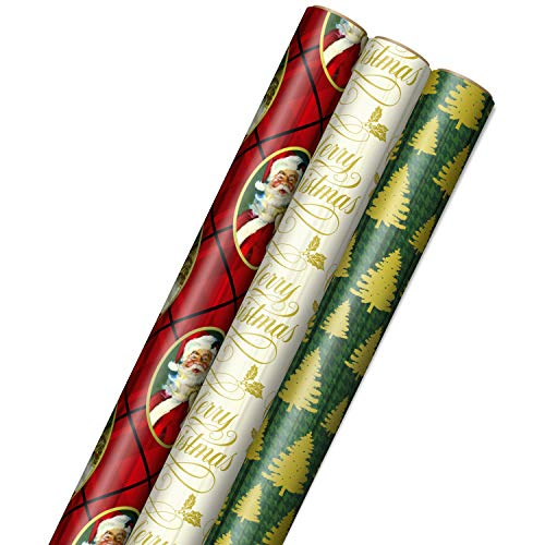 "Hallmark Foil Christmas Wrapping Paper with Cut Lines on Reverse (3 Rolls: 60 sq. ft. ttl) Classic Santa Claus, Gold ""Merry Christmas,"" Green Plaid with Gold Trees"