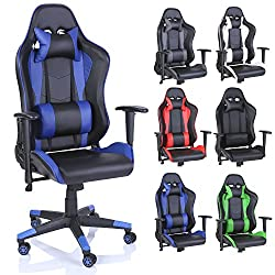 TRESKO Racing Drehstuhl Bürostuhl Sportsitz Chefsessel Gaming Stuhl 6 Farbvarianten, Wippmechanik, stufenlos verstellbare Rückenlehne (Blau)
