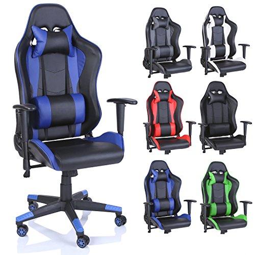 TRESKO® Silla de Escritorio Gamer Profesional | Silla de Oficina Ergonómica Gaming | Regulable, Reclinable | para Jugadores de PC | (Azul)