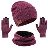 mysuntown Hat Scarf and Glove Set, Women Winter Hats 3-Piece, Beanie Neck Warmer and Touchscreen Gloves for Men (Pink)