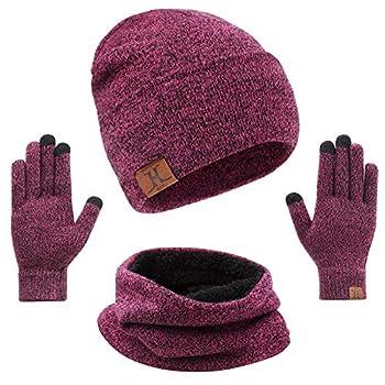 mysuntown Hat Scarf and Glove Set Women Winter Hats 3-Piece Beanie Neck Warmer and Touchscreen Gloves for Men  Pink
