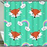 COFEIYISI Neueste Duschvorhänge Nahtloses Muster des niedlichen Fuchses & Regenbogens der Karikatur Wasserdicht Bad Vorhang Waschbar Bad Vorhang Polyester Stoff mit 12 Haken 180x180 cm