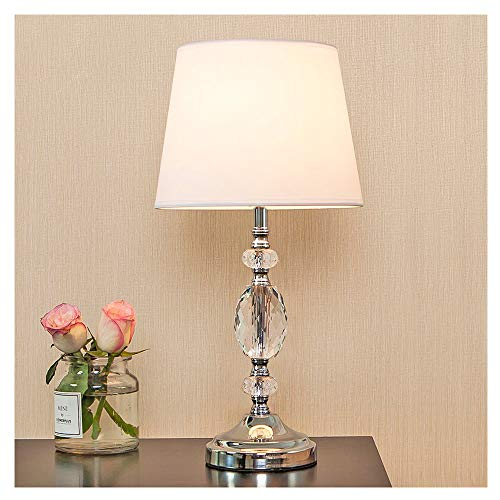 Popity home Decorative Chrome Living Room Bedside Crystal Table Lamp,Table Lamps with White Fabric Shade for Bedroom Living Room Coffee Desk Lamp