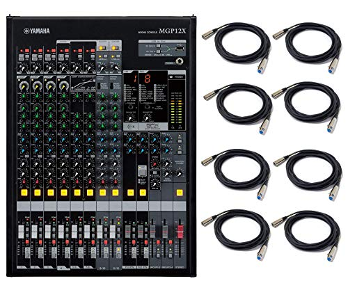 Yamaha MGP12X 12 Channel Premium Mixer with USB and FX Analog Mixer with 4-bus, 6 Mic/12 Line Inputs, 2 AUX Sends and Onboard Effects Bundle with 8 Unit 20' XLR Microphone Cables