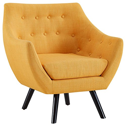 Modway Allegory Mid-Century Modern Upholstered Fabric Accent Arm Chair in Mustard