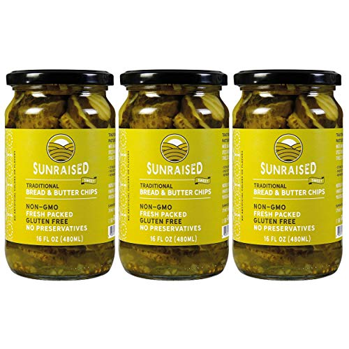 Sunraised Sweet Bread & Butter Chips Pickles, 16 oz (3 Pack)