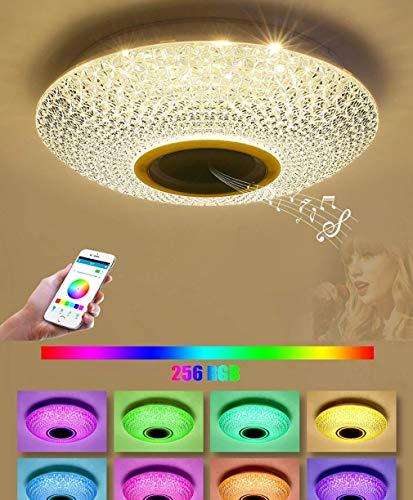 kzytamz RGB Color LED Regulable Luz de Techo, APLICACIÓN Bluetooth Música Altavoz Atenuación Lámpara de Techo Luces para Dormitorio Sala de Estar Iluminación de Techo, 50 CM