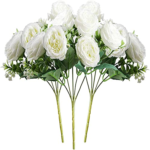 Yyhmkb 5 Heads Persian Rose Artificial Flowers Artificial Rose Flower Bouquets For Family Wedding Banquet Decoration 3Pcs White